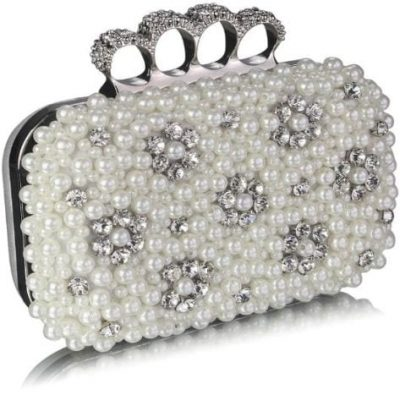 Knuckle Rings Clutch With Crystal Decoration