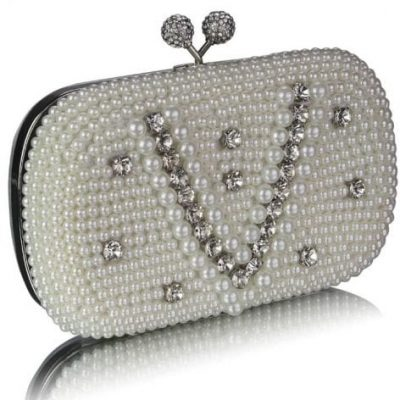 Vintage Pearl & Crystal Evening Clutch Bag
