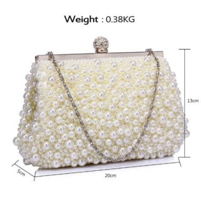 Vintage Evening Bag Adorned with Beads & Pearls, Crystal Clasp.