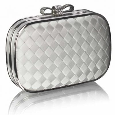 Hard Case Silver Clutch with Crystal Encrusted Bow Clasp