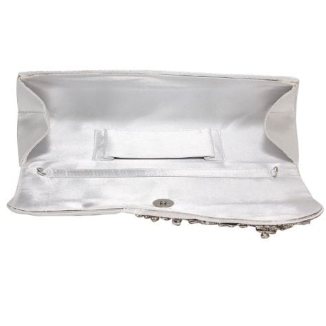 Ruched Satin Clutch With Crystal Flower