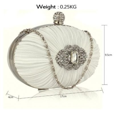 Crystal Satin Rouched Hard Case Evening Bag