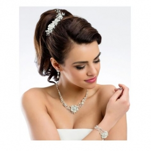 Floral necklace and earrings set, enhanced with rhinestone and crystal stones.