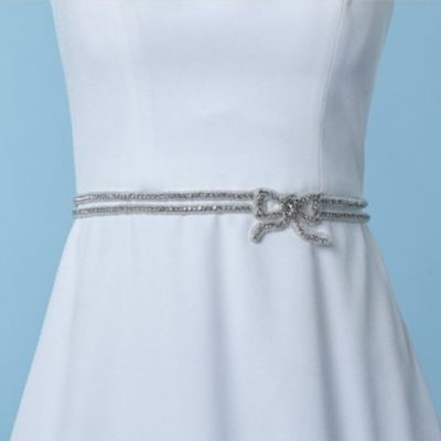Exquisite Ivory dual band bridal belt encrusted with strass stones throughout the design.